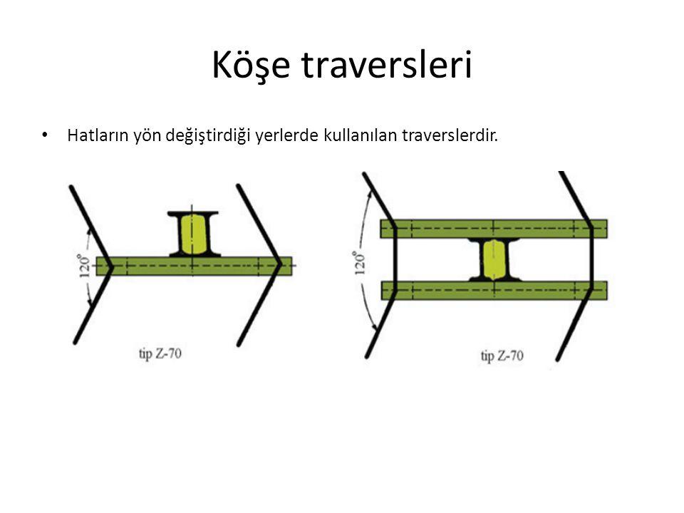 Köşe traversleri Hatların yön değiştirdiği yerlerde kullanılan traverslerdir.