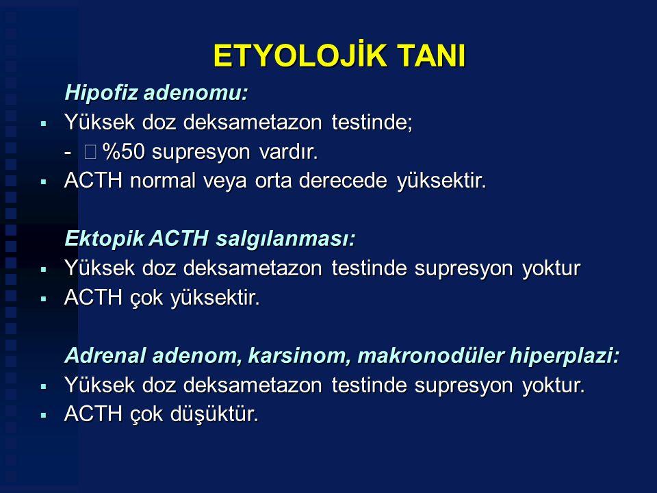 ETYOLOJİK TANI Hipofiz adenomu: Yüksek doz deksametazon testinde;
