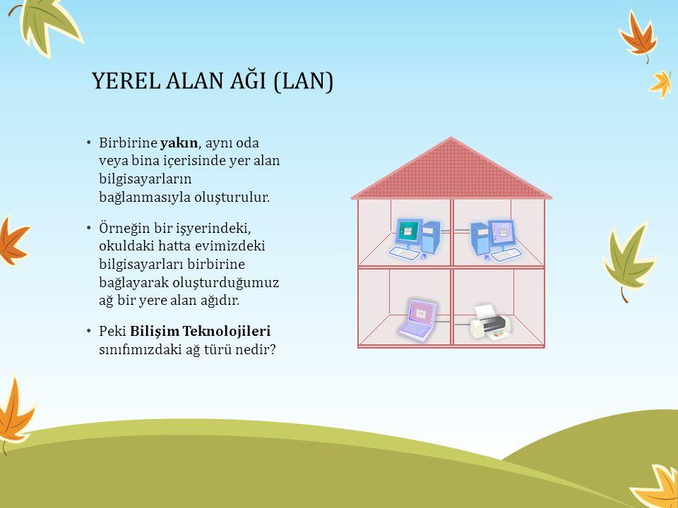 YEREL ALAN AĞI (LAN) Birbirine yakın, aynı oda veya bina içerisinde yer alan bilgisayarların bağlanmasıyla oluşturulur.