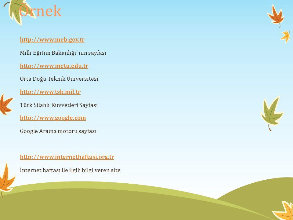 Örnek http://www.meb.gov.tr Milli Eğitim Bakanlığı nın sayfası