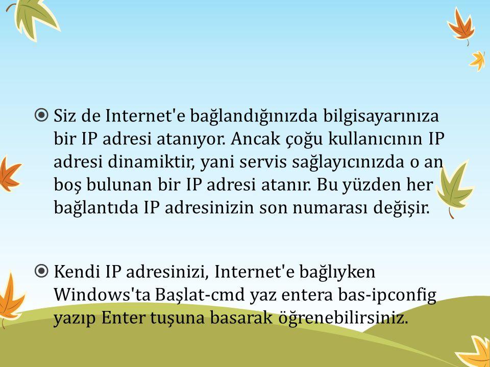 Siz de Internet e bağlandığınızda bilgisayarınıza bir IP adresi atanıyor. Ancak çoğu kullanıcının IP adresi dinamiktir, yani servis sağlayıcınızda o an boş bulunan bir IP adresi atanır. Bu yüzden her bağlantıda IP adresinizin son numarası değişir.