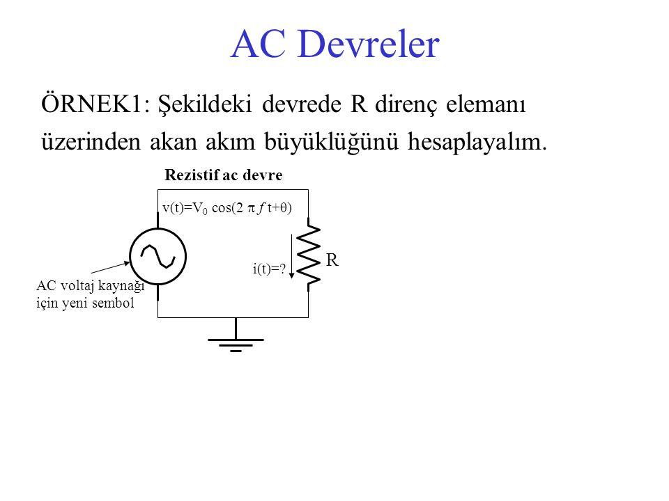 AC Devreler ÖRNEK1: Şekildeki devrede R direnç elemanı