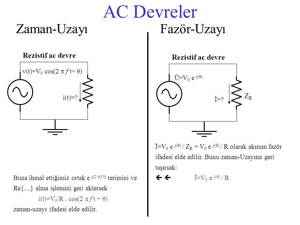 AC Devreler Zaman-Uzayı Fazör-Uzayı Rezistif ac devre