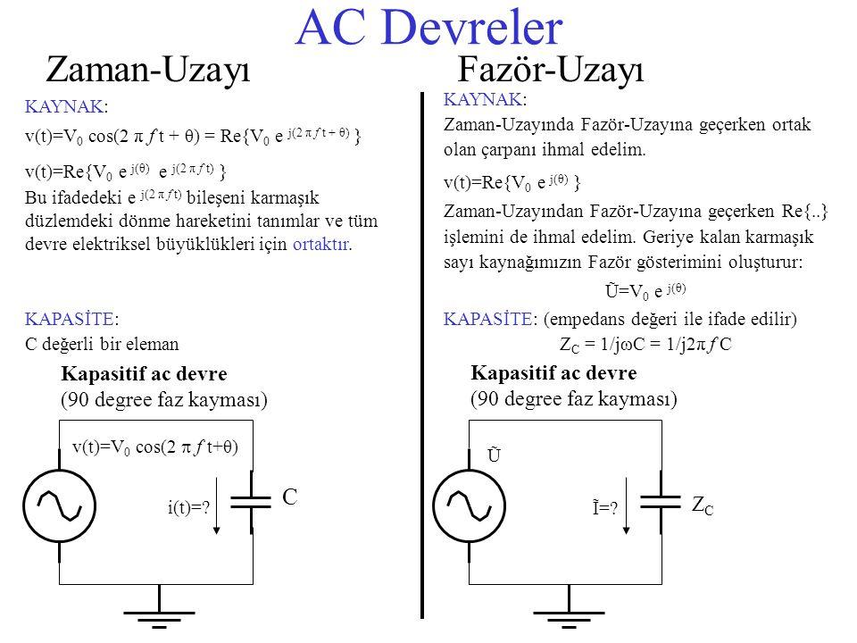 AC Devreler Zaman-Uzayı Fazör-Uzayı C Kapasitif ac devre