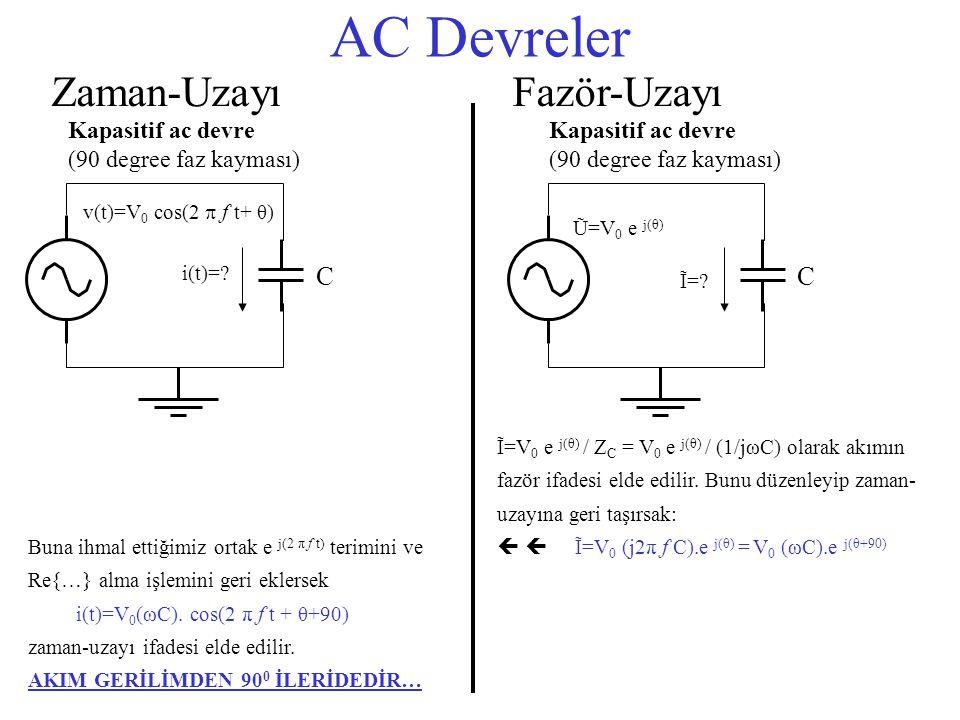 AC Devreler Zaman-Uzayı Fazör-Uzayı C C Kapasitif ac devre