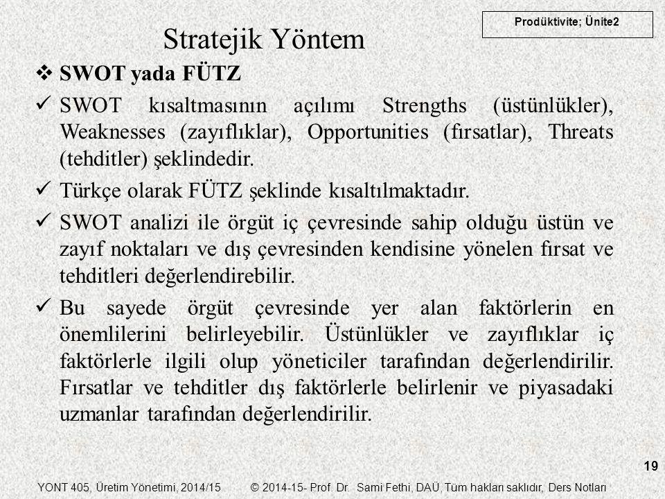 Stratejik Yöntem SWOT yada FÜTZ