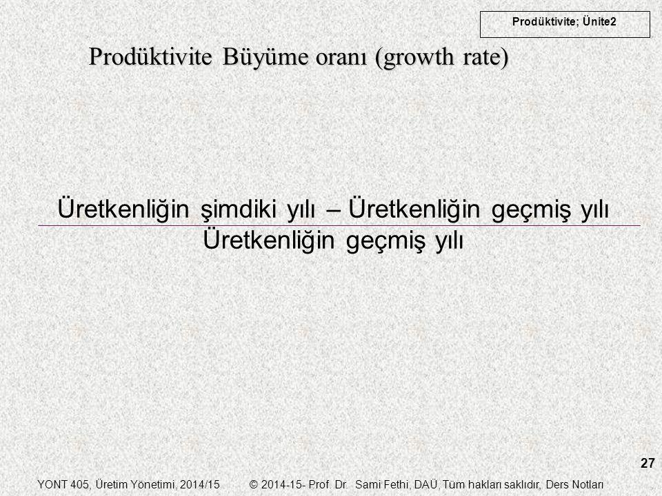 Prodüktivite Büyüme oranı (growth rate)