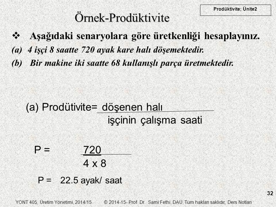 Örnek-Prodüktivite (a) Prodütivite= döşenen halı işçinin çalışma saati