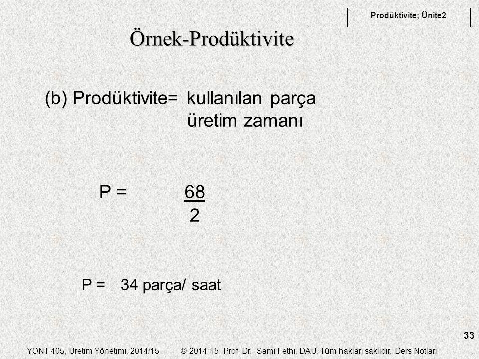 Örnek-Prodüktivite (b) Prodüktivite= kullanılan parça üretim zamanı
