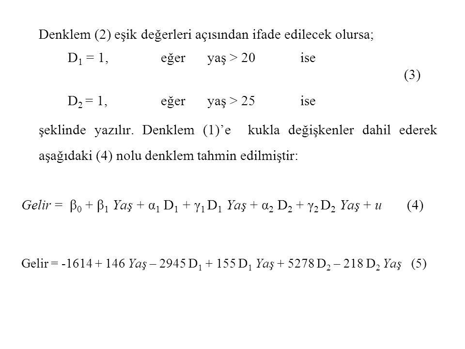 Denklem (2) eşik değerleri açısından ifade edilecek olursa;