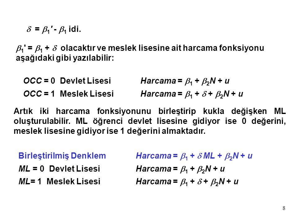 d = b1 - b1 idi. b1 = b1 + d olacaktır ve meslek lisesine ait harcama fonksiyonu aşağıdaki gibi yazılabilir: