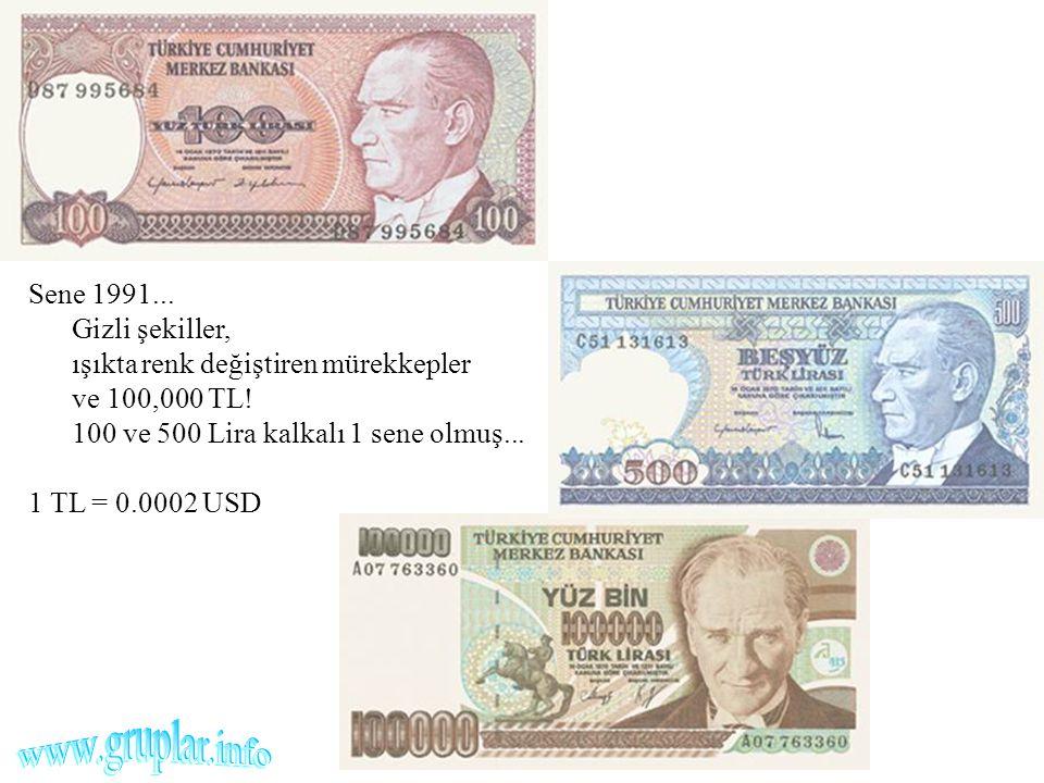 Sene 1991... Gizli şekiller, ışıkta renk değiştiren mürekkepler ve 100,000 TL! 100 ve 500 Lira kalkalı 1 sene olmuş...