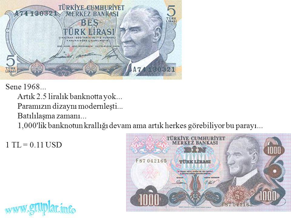 Sene 1968. Artık 2. 5 liralık banknotta yok