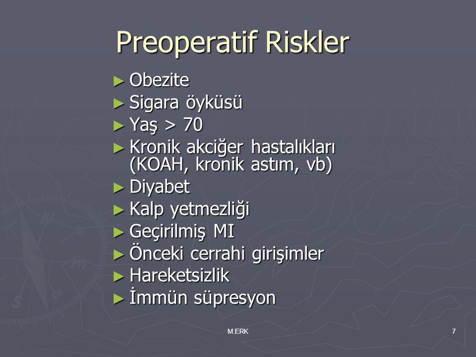 Preoperatif Riskler Obezite Sigara öyküsü Yaş > 70