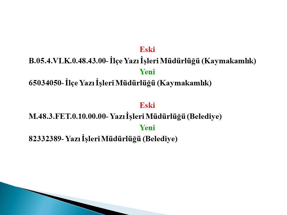 Eski B.05.4.VLK.0.48.43.00- İlçe Yazı İşleri Müdürlüğü (Kaymakamlık) Yeni 65034050- İlçe Yazı İşleri Müdürlüğü (Kaymakamlık) M.48.3.FET.0.10.00.00- Yazı İşleri Müdürlüğü (Belediye) 82332389- Yazı İşleri Müdürlüğü (Belediye)