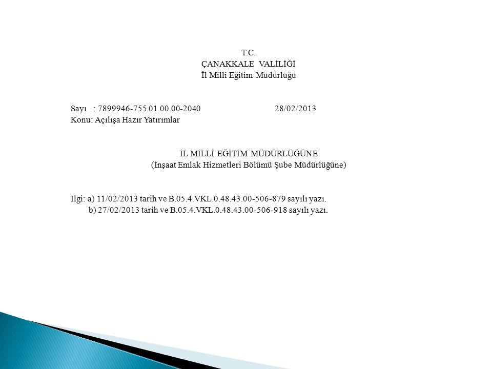 T. C. ÇANAKKALE VALİLİĞİ İl Milli Eğitim Müdürlüğü Sayı : 7899946-755