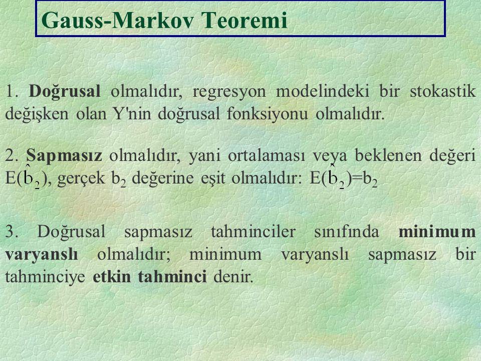 Gauss-Markov Teoremi 1. Doğrusal olmalıdır, regresyon modelindeki bir stokastik değişken olan Y nin doğrusal fonksiyonu olmalıdır.