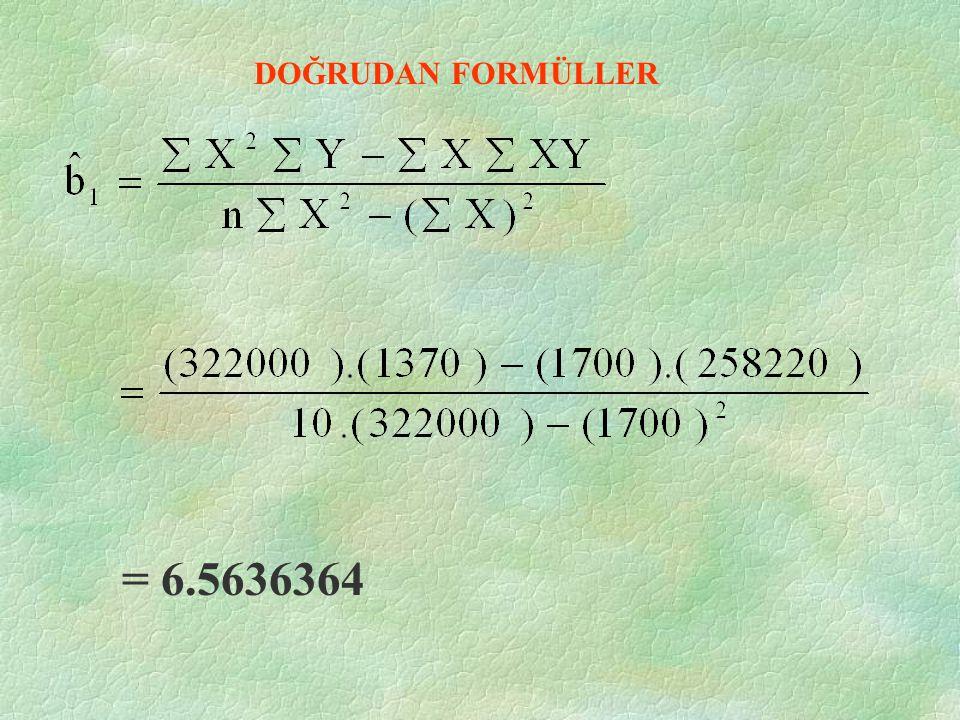 DOĞRUDAN FORMÜLLER = 6.5636364