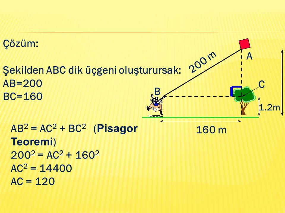 Şekilden ABC dik üçgeni oluşturursak: AB=200 BC=160