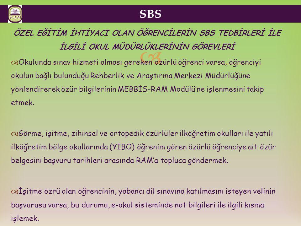 SBS ÖZEL EĞİTİM İHTİYACI OLAN ÖĞRENCİLERİN SBS TEDBİRLERİ İLE İLGİLİ OKUL MÜDÜRLÜKLERİNİN GÖREVLERİ.