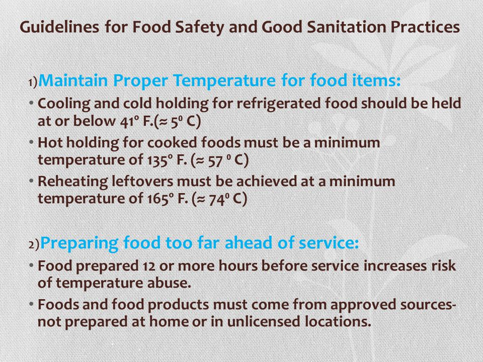 Guidelines for Food Safety and Good Sanitation Practices