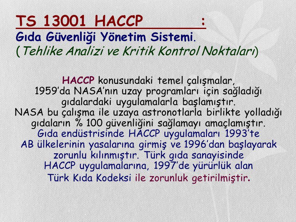 TS 13001 HACCP. : Gıda Güvenliği Yönetim Sistemi