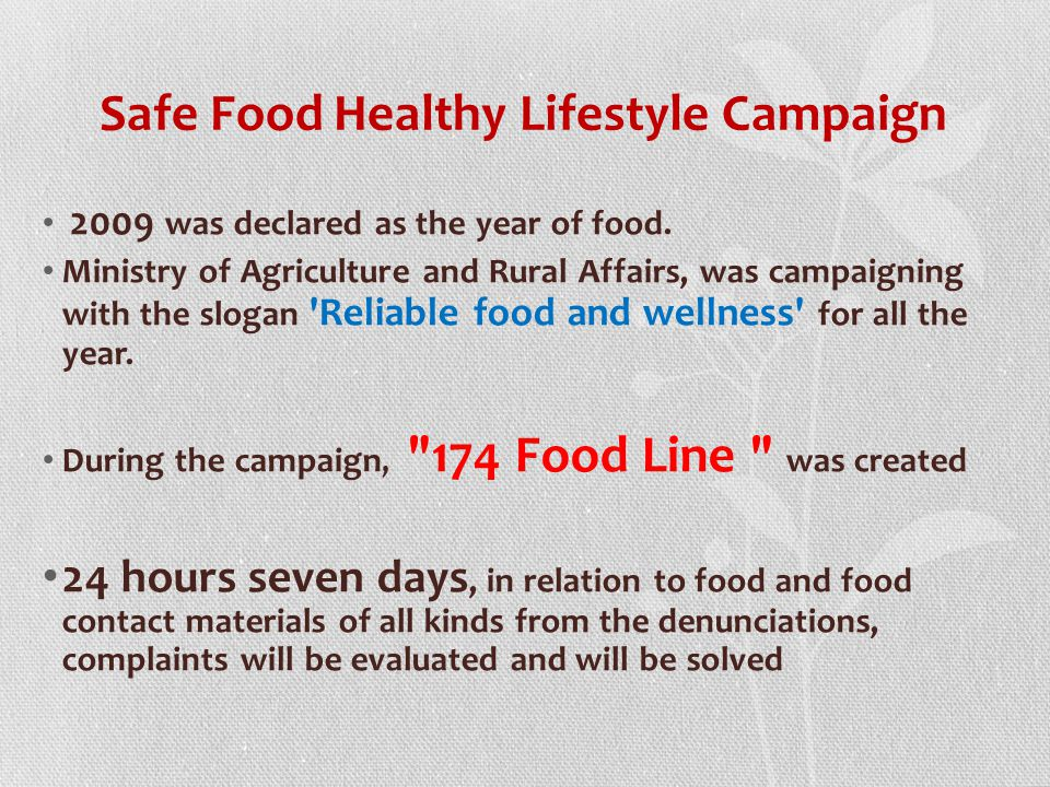 Safe Food Healthy Lifestyle Campaign