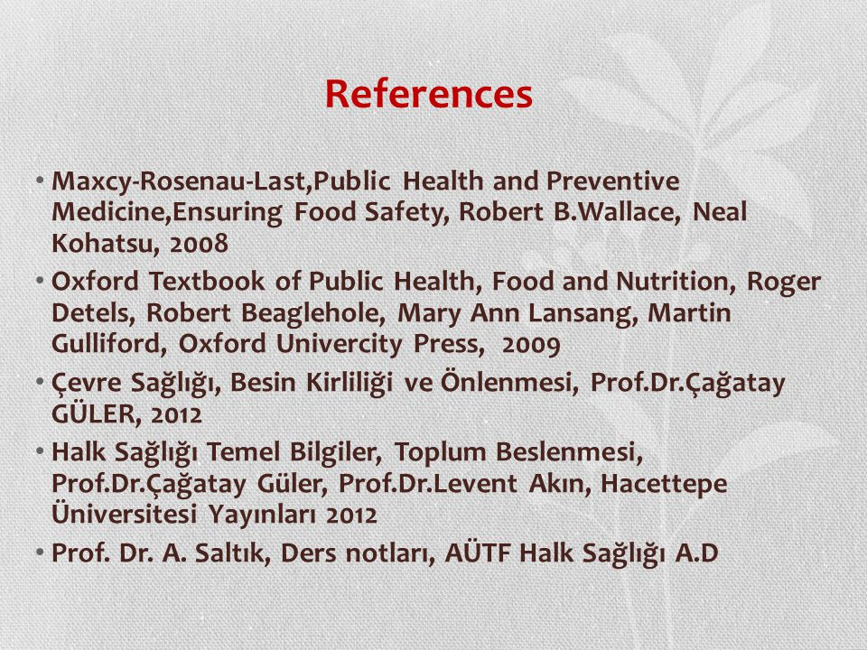 References Maxcy-Rosenau-Last,Public Health and Preventive Medicine,Ensuring Food Safety, Robert B.Wallace, Neal Kohatsu, 2008.