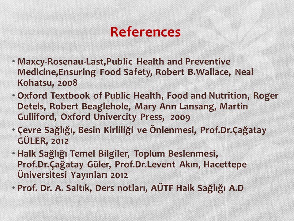 References Maxcy-Rosenau-Last,Public Health and Preventive Medicine,Ensuring Food Safety, Robert B.Wallace, Neal Kohatsu, 2008.