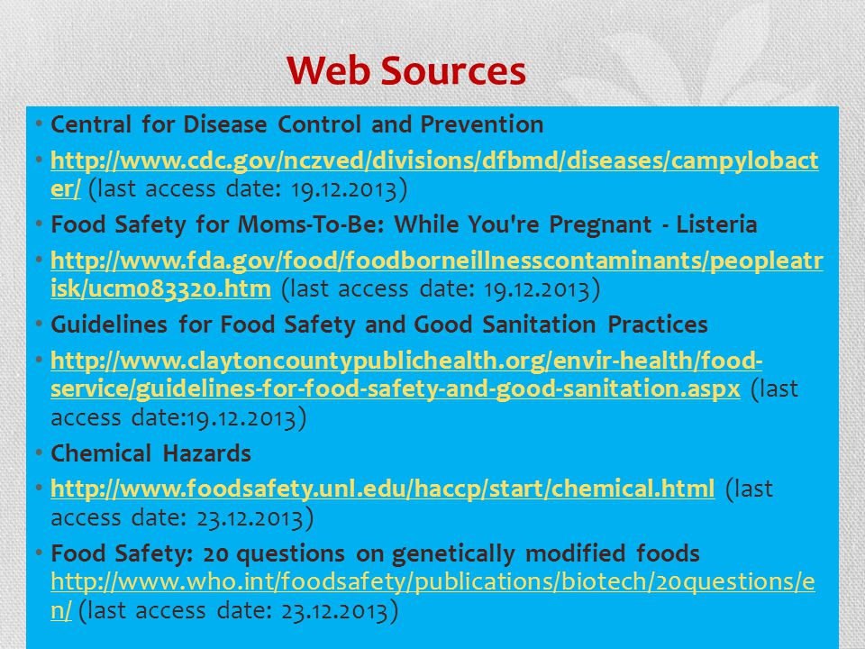 Web Sources Central for Disease Control and Prevention