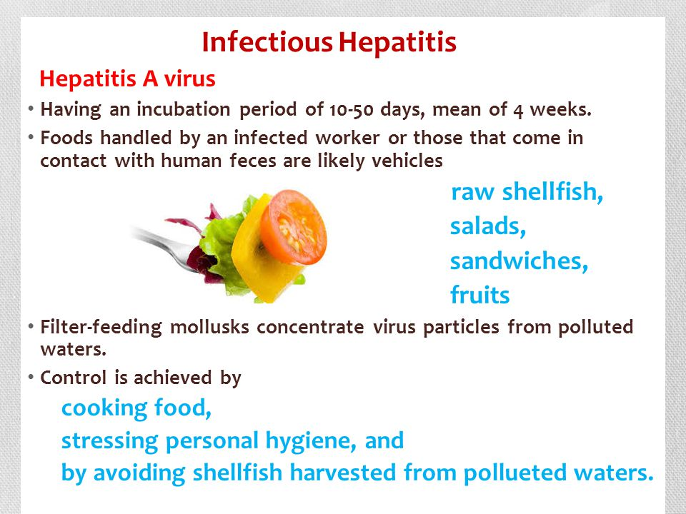 Infectious Hepatitis salads, sandwiches, fruits Hepatitis A virus