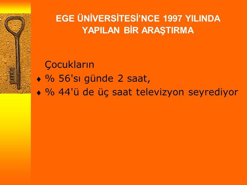 EGE ÜNİVERSİTESİ'NCE 1997 YILINDA YAPILAN BİR ARAŞTIRMA