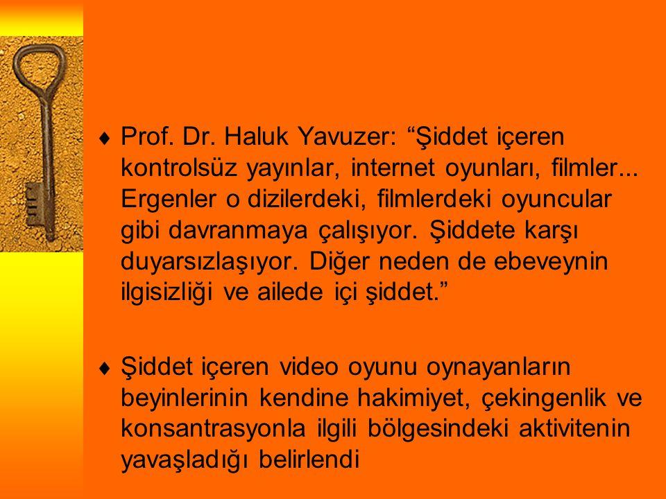 Prof. Dr. Haluk Yavuzer: Şiddet içeren kontrolsüz yayınlar, internet oyunları, filmler... Ergenler o dizilerdeki, filmlerdeki oyuncular gibi davranmaya çalışıyor. Şiddete karşı duyarsızlaşıyor. Diğer neden de ebeveynin ilgisizliği ve ailede içi şiddet.