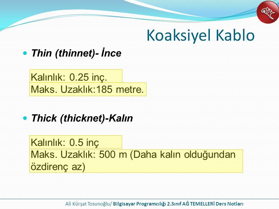 Koaksiyel Kablo Thin (thinnet)- İnce Kalınlık: 0.25 inç. Maks. Uzaklık:185 metre.