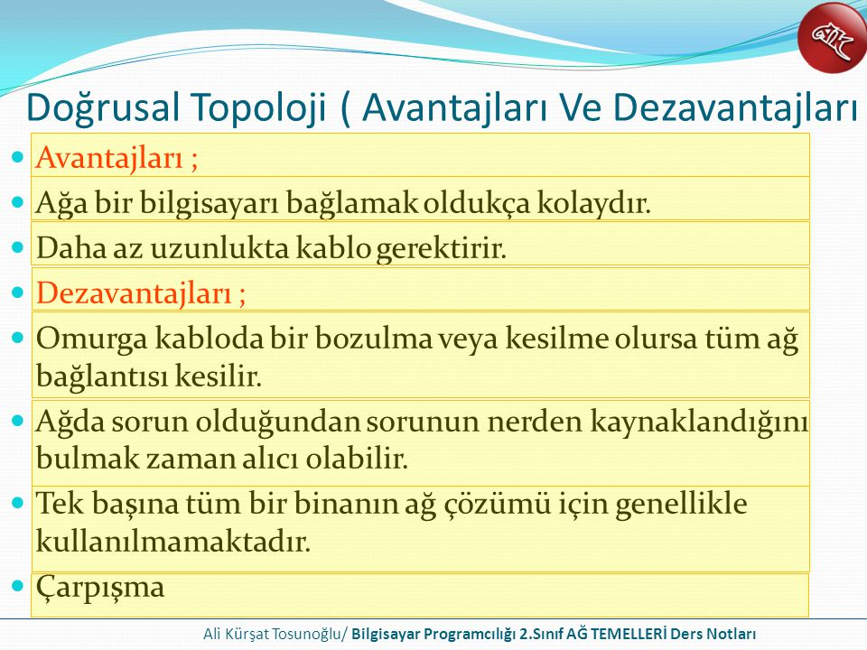 Doğrusal Topoloji ( Avantajları Ve Dezavantajları