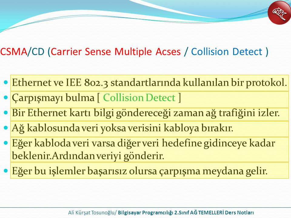 CSMA/CD (Carrier Sense Multiple Acses / Collision Detect )