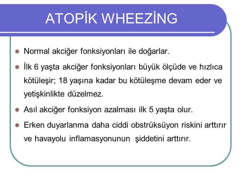 ATOPİK WHEEZİNG Normal akciğer fonksiyonları ile doğarlar.