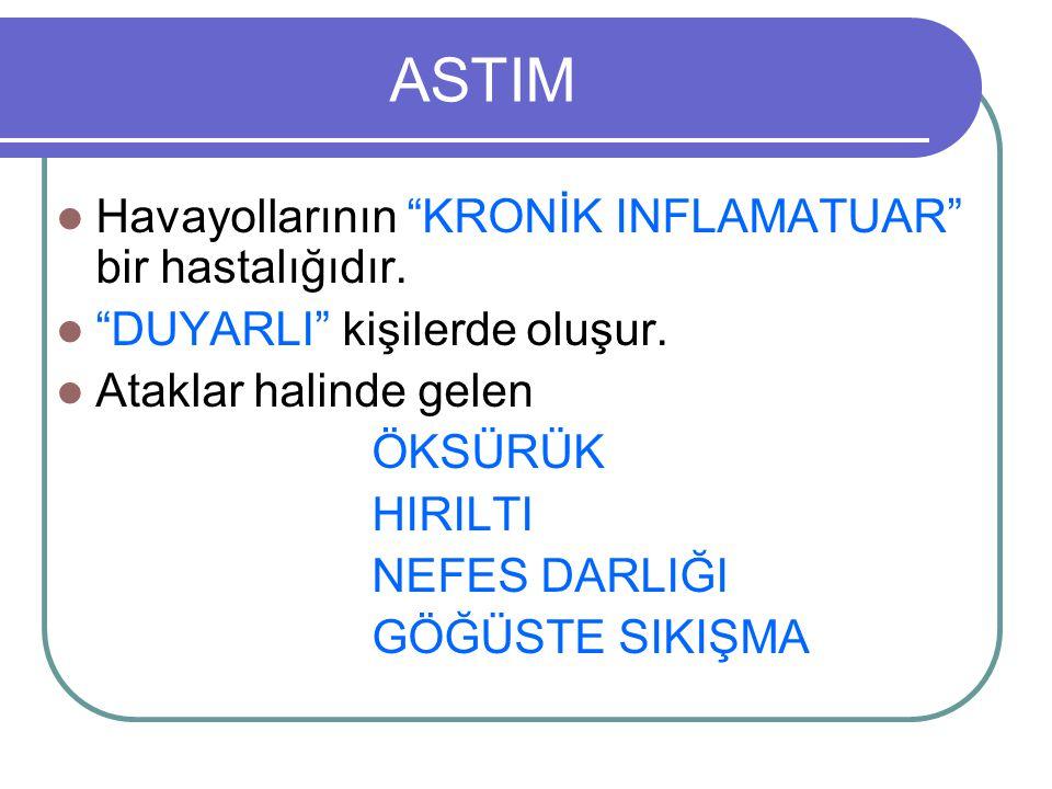 ASTIM Havayollarının KRONİK INFLAMATUAR bir hastalığıdır.