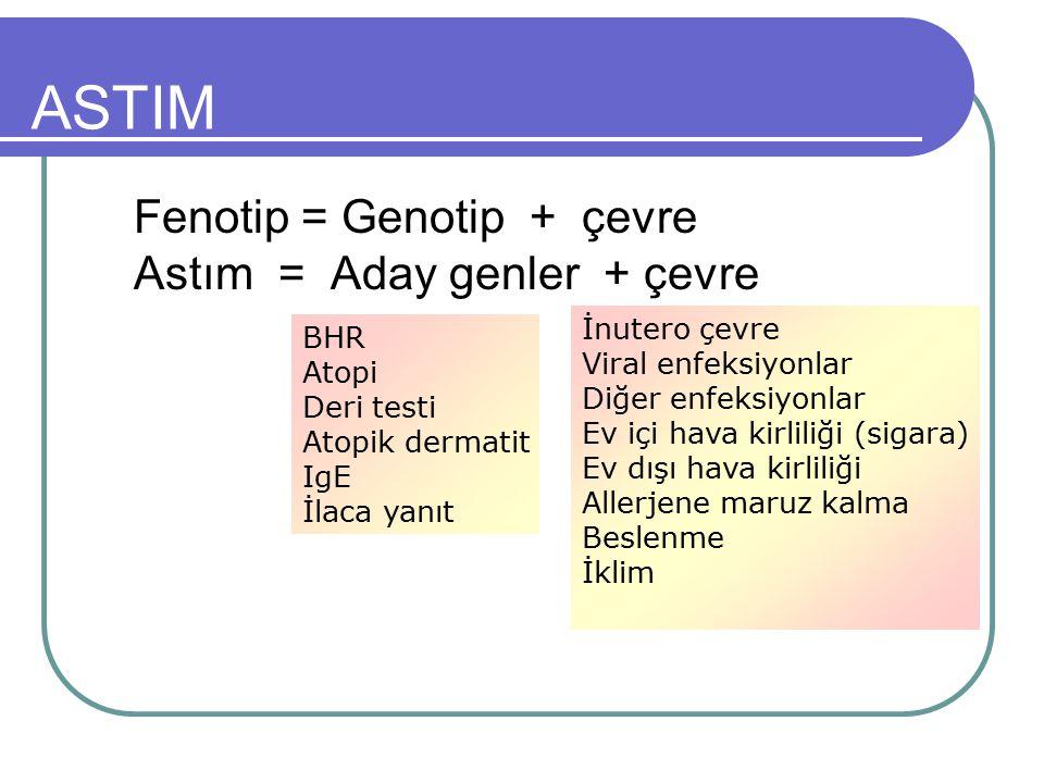 ASTIM Fenotip = Genotip + çevre Astım = Aday genler + çevre