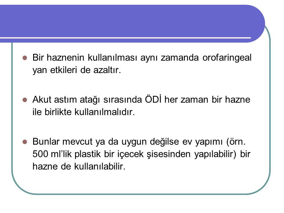 Bir haznenin kullanılması aynı zamanda orofaringeal yan etkileri de azaltır.