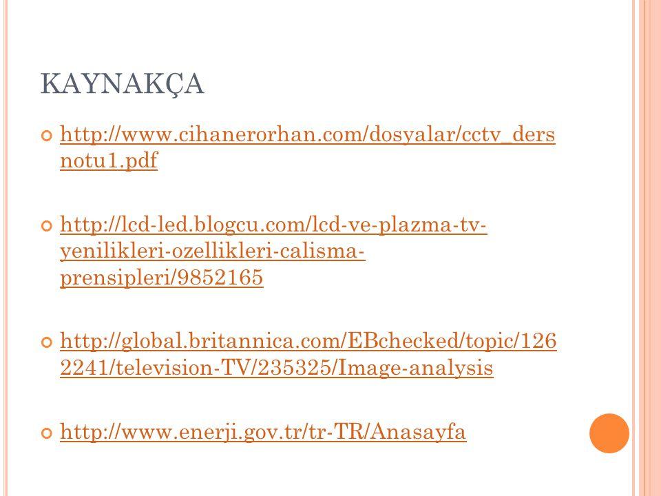 KAYNAKÇA http://www.cihanerorhan.com/dosyalar/cctv_ders notu1.pdf