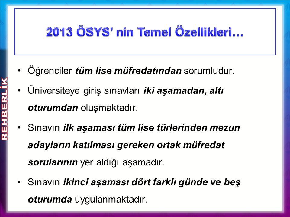 2013 ÖSYS' nin Temel Özellikleri…