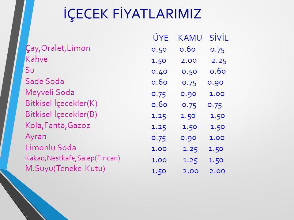 İÇECEK FİYATLARIMIZ Çay,Oralet,Limon. Kahve. Su. Sade Soda. Meyveli Soda. Bitkisel İçecekler(K)