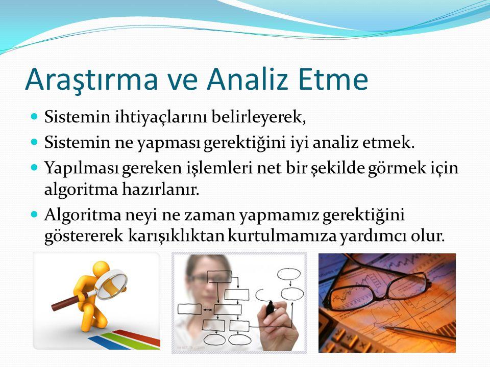Araştırma ve Analiz Etme