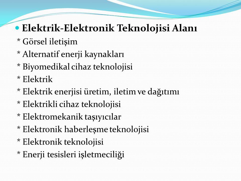 Elektrik-Elektronik Teknolojisi Alanı