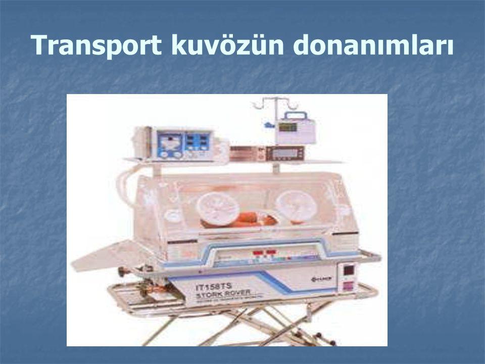 Transport kuvözün donanımları