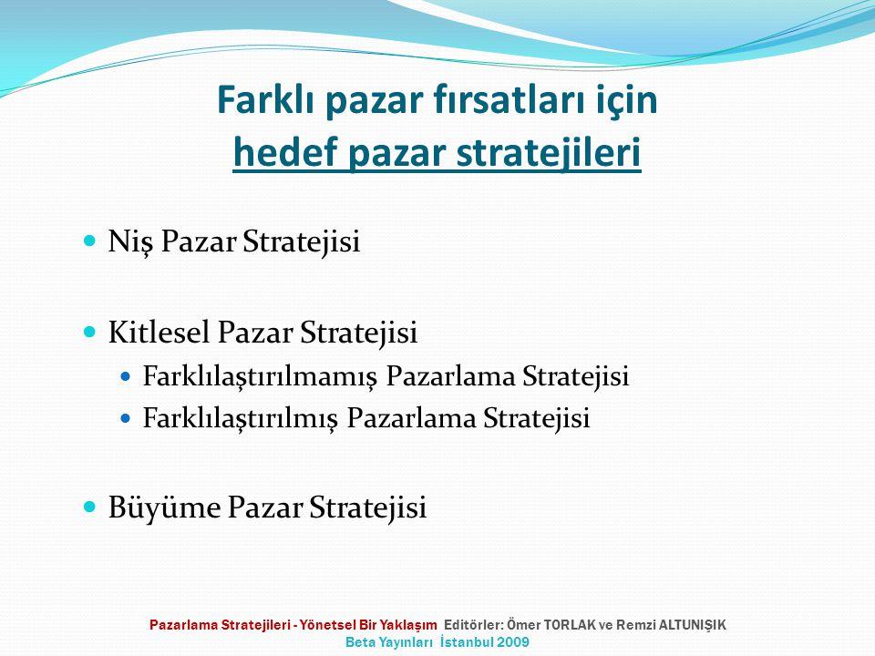 Farklı pazar fırsatları için hedef pazar stratejileri