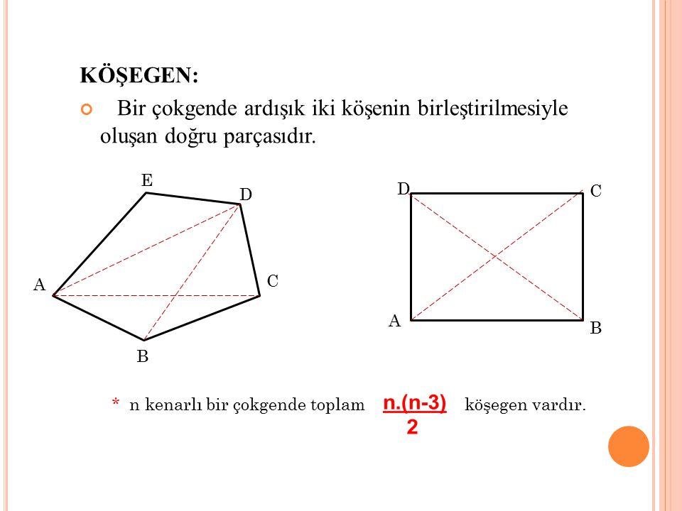 KÖŞEGEN: Bir çokgende ardışık iki köşenin birleştirilmesiyle oluşan doğru parçasıdır. E. D. D. C.