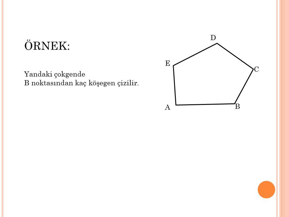 D ÖRNEK: Yandaki çokgende B noktasından kaç köşegen çizilir. E C A B