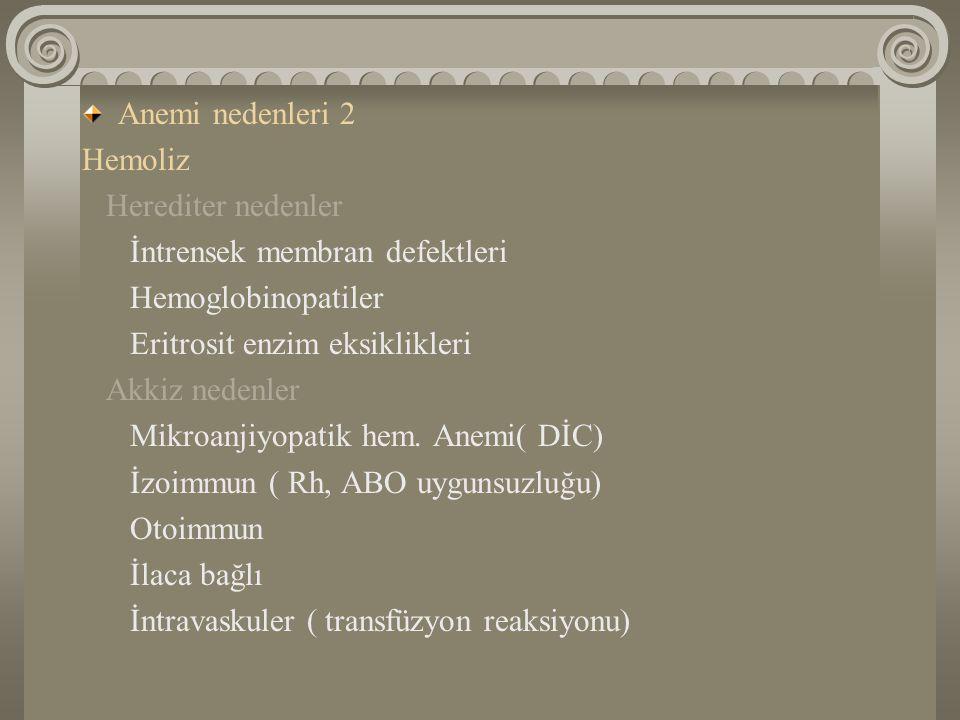 Anemi nedenleri 2 Hemoliz. Herediter nedenler. İntrensek membran defektleri. Hemoglobinopatiler.